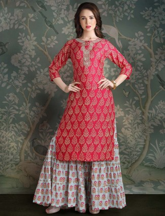 Beautiful red sharara suit in cotton