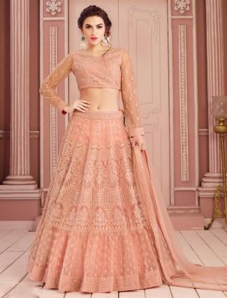 Beautiful rose pink net lehenga choli