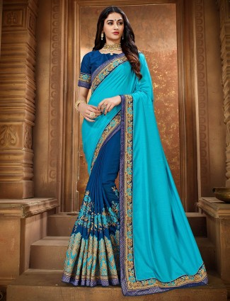 Beautiful sky blue and blue half and half saree