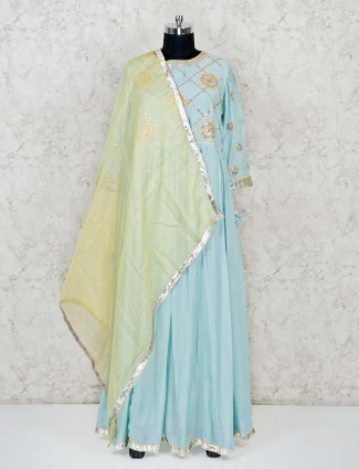 Beautiful sky blue cotton anarkali dress