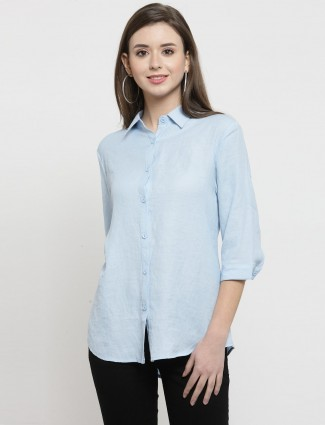 Beautiful sky blue cotton shirt for casual