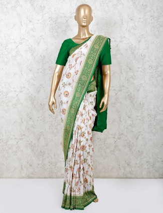 Beautiful white wedding muga silk saree