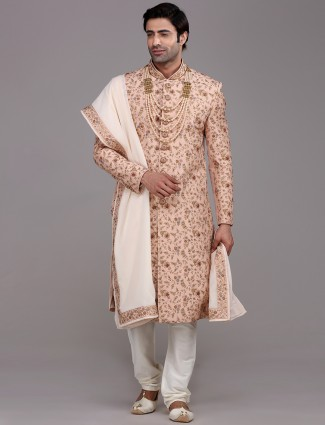 Beautifully patterned peach raw silk sherwani