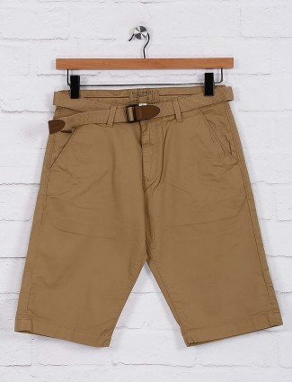 Beevee beige casual wear solid shorts