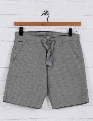 Beevee grey checks slim fit shorts