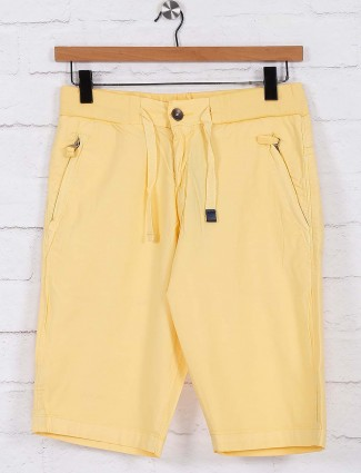 Beevee lemon yellow solid casual shorts