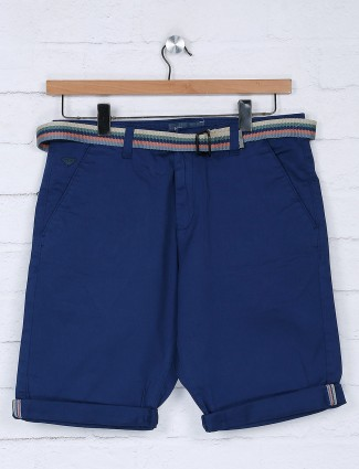 Beevee royal blue cotton fabric short