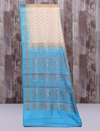 Beige and aqua semi silk saree