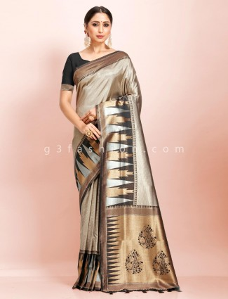 Beige and black art kanjivaram silk traditional wear designer saree