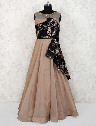 Beige and black color designer gown
