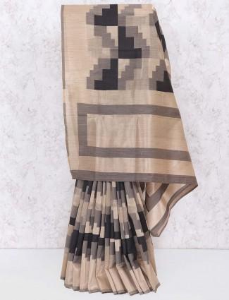 Beige and black cotton silk sareee