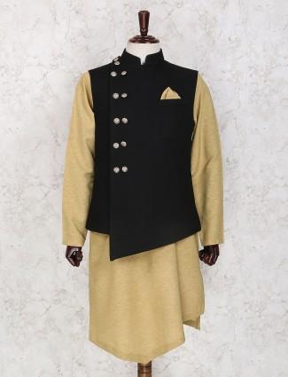 Beige and black jute waistcoat set