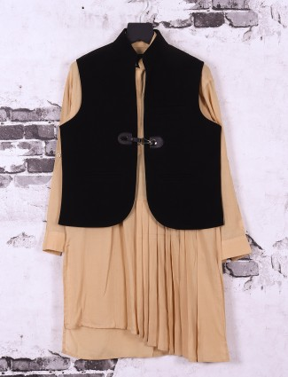 Beige and black waistcoat set for boys