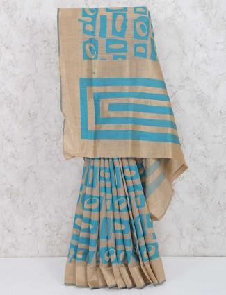 Beige and blue color cotton silk beautiful saree