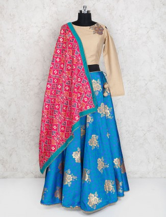 Beige and blue hue party wear lehenga choli
