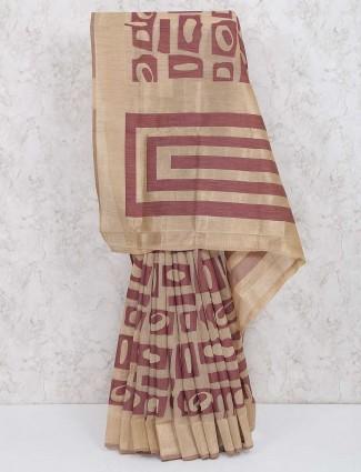 Beige and brown saree in cotton silk