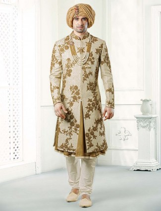 Beige and cream hue designer raw silk sherwani