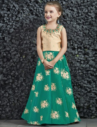 Beige and green color silk choli suit