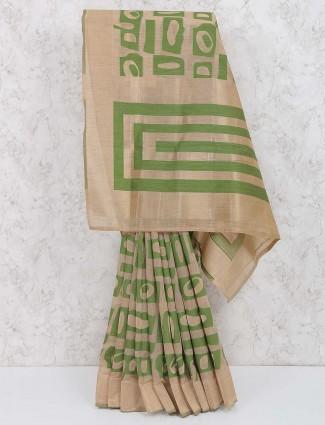 Beige and green hue beautiful saree