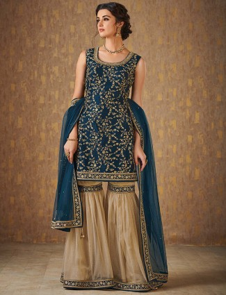 Beige and green raw silk sharara suit