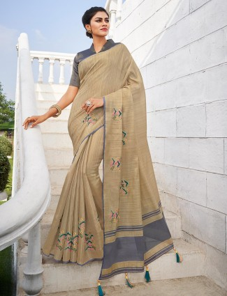 Beige and grey handloom cotton saree