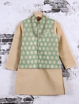 beige and light green color waistcoat set
