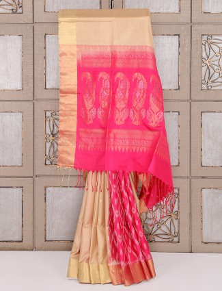Beige and magenta color patola saree