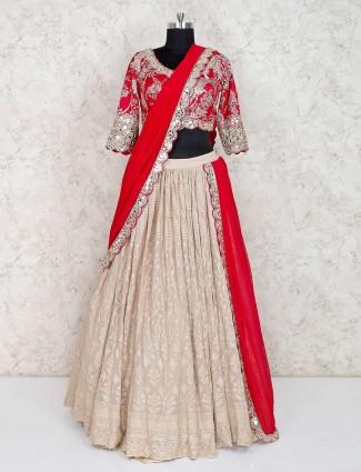 Beige and magenta cotton silk lehenga choli for wedding