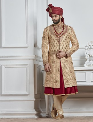 Beige and maroon color silk sherwani