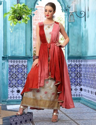 Beige and maroon cotton silk jacket style long kurti