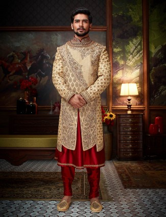Beige and maroon groom sherwani