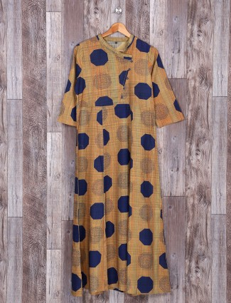 Beige and navy color cotton kurti