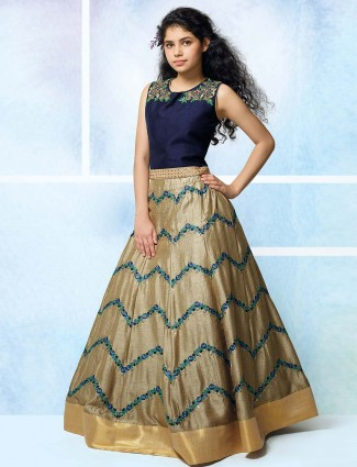 Beige and navy color raw silk lehenga choli
