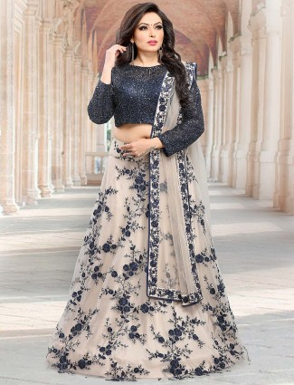 Beige and navy hue pretty lehenga choli