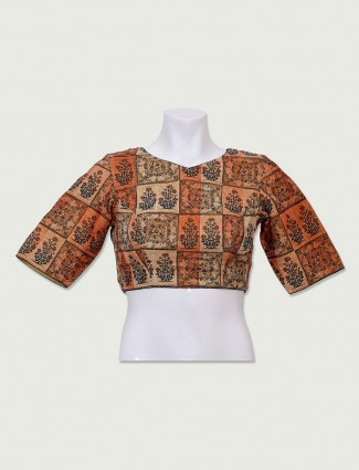 Beige and orange color readymade blouse