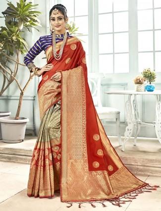 Beige and peach half and half saree in semi silk