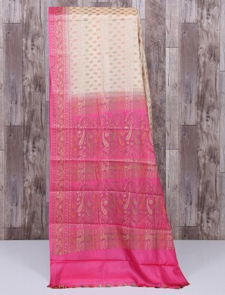 Beige and pink color saree