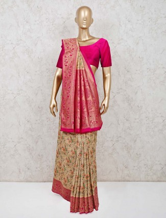 Beige and pink designer pashmina silk saree for weddings