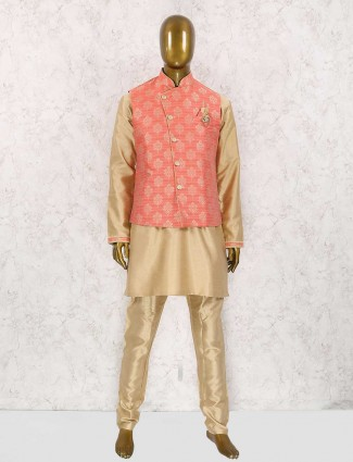Beige and pink party wear waistcoat set
