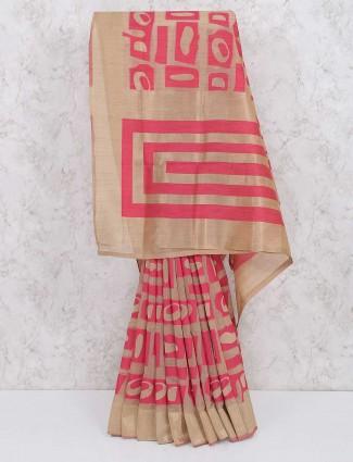 Beige and pink saree in cotton silk