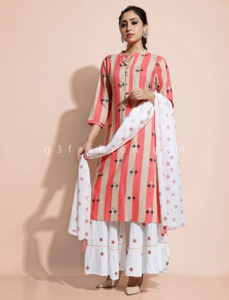 beige and pink striped kurti with sharara
