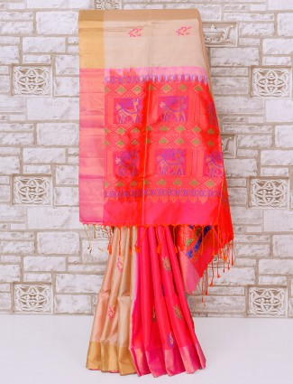 Beige and red color silk party saree