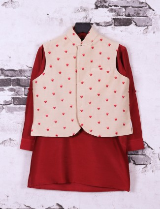 Beige and red color waistcoat set for boys