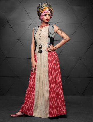 Beige and red cotton long kurti