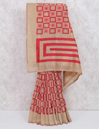 Beige and red cotton silk saree