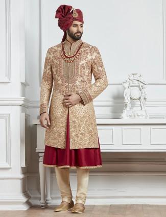 Beige and red raw silk groom indo western sherwani