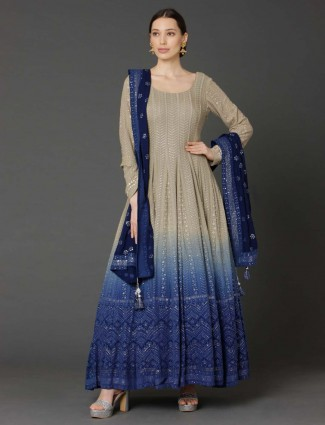 Beige and royal blue georgette shaded anarkali suit