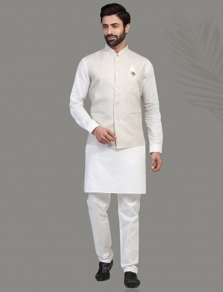 Beige and white linen waistcoat set