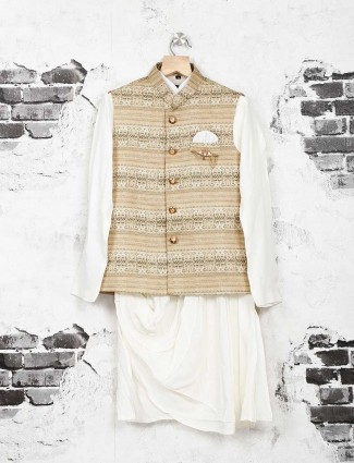 Beige and white waistcoat set for boys