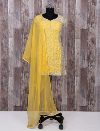 Beige and yellow color patiala suit